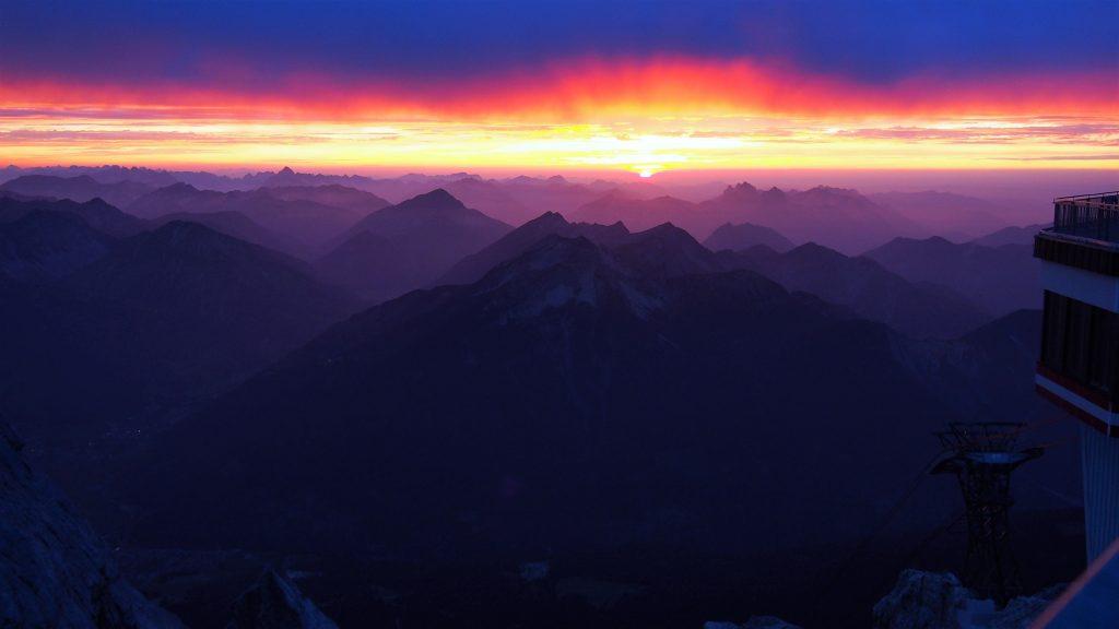 zachód słońca na Zugspitze